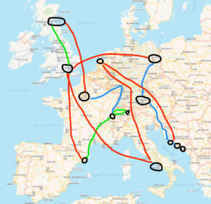 The final itinerary. Red = flights. Green = trains. Blue = bus.